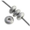 Glass Bead 4mm round Flat Spacer Metallic Silver